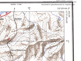 Reduced fragment of topographic map en--ams--250k--nj42-07--(1956)--N039-00_E069-00--N038-00_E070-30; towns and cities Nurek, Ordzhonikidzeabad, Dangara, Yavan, Muminabad