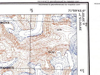 Reduced fragment of topographic map en--ams--250k--nj42-08--(1956)--N039-00_E070-30--N038-00_E072-00; towns and cities Pashimgar, Rovand, Sangvor
