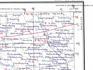 Reduced fragment of topographic map en--ams--250k--nj50-02--(1956)--N040-00_E115-30--N039-00_E117-00; towns and cities Beijing, Zhuo Xian