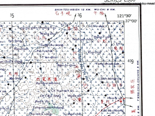 Reduced fragment of topographic map en--ams--250k--nj51-13--(1956)--N037-00_E120-00--N036-00_E121-30 in area of Laoshan Bay, Dingzi Bay; towns and cities Qingdao, Jiangshan