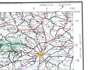 Reduced fragment of topographic map en--ams--250k--nk31-01--(1956)--N044-00_E000-00--N043-00_E002-00; towns and cities Ciadoux, Gaillac, Graulhet