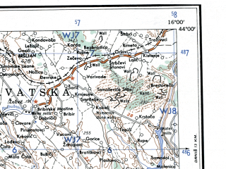 Reduced fragment of topographic map en--ams--250k--nk33-02--(1956)--N044-00_E014-00--N043-00_E016-00 in area of Vransko Jezero; towns and cities Sibenik, Vodice
