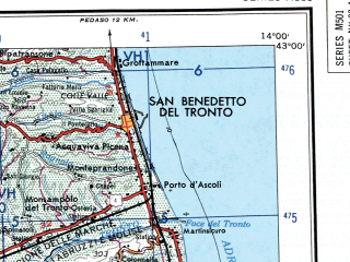 Reduced fragment of topographic map en--ams--250k--nk33-04--(1956)--N043-00_E012-00--N042-00_E014-00 in area of Nera, Lago Di Bracciano, Lago Di Campotosto; towns and cities Terni, Viterbo, L'aquila, Teramo, San Benedetto Del Tronto