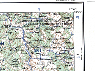Reduced fragment of topographic map en--ams--250k--nk34-04--(1956)--N043-00_E018-00--N042-00_E020-00 in area of Skadarsko Jezero, Liqeni I Vaut Te Dejes, Bilecko Jezero; towns and cities Shkoder, Podgorica, Dubrovnik, Niksic, Cetinje