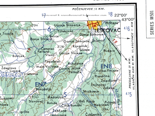 Reduced fragment of topographic map en--ams--250k--nk34-05--(1956)--N043-00_E020-00--N042-00_E022-00 in area of Liqeni I Fjerzes; towns and cities Skopje, Pristina, Urosevac, Vranje, Kosovska Mitrovica