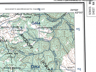 Reduced fragment of topographic map en--ams--250k--nk34-09--(1956)--N042-00_E022-00--N041-00_E024-00; towns and cities Serrai, Petrich, Stip, Gotse Delchev, Sandanski