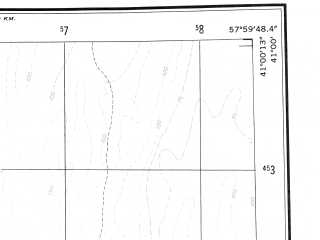 Reduced fragment of topographic map en--ams--250k--nk40-11--(1956)--N041-00_E056-00--N040-00_E058-00 in area of Uzboj