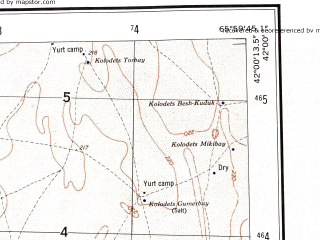 Reduced fragment of topographic map en--ams--250k--nk41-09--(1956)--N042-00_E064-00--N041-00_E066-00; towns and cities Zarafshan, Ayakkuduk, Beshbulak, Mullalykuduk