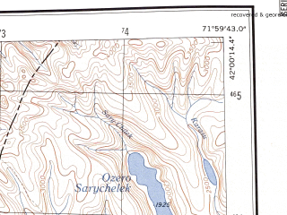 Reduced fragment of topographic map en--ams--250k--nk42-09--(1956)--N042-00_E070-00--N041-00_E072-00; towns and cities Angren, Yangiabad, Kasansay, Sumsar, Terek-say