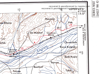 Reduced fragment of topographic map en--ams--250k--nk42-11--(1956)--N041-00_E068-00--N040-00_E070-00; towns and cities Leninabad, Almalyk, Bekabad, Il'ich, Sovetabad