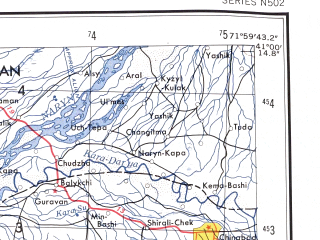 Reduced fragment of topographic map en--ams--250k--nk42-12--(1956)--N041-00_E070-00--N040-00_E072-00 in area of Syrdar'ja; towns and cities Namangan, Kokand, Margilan, Fergana, Chust