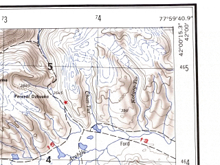 Reduced fragment of topographic map en--ams--250k--nk43-09--(1956)--N042-00_E076-00--N041-00_E078-00; towns and cities Naryn, Ak-muz, Bosogo