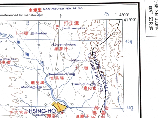 Reduced fragment of topographic map en--ams--250k--nk49-12--(1956)--N041-00_E112-00--N040-00_E114-00 in area of Dai Hai, Huangqi Hai; towns and cities Datong, Chao-shih-chuang, Luowenzao, Tung-shuang-chia