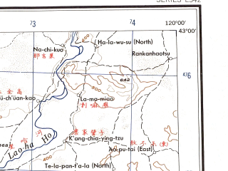 Reduced fragment of topographic map en--ams--250k--nk50-06--(1956)--N043-00_E118-00--N042-00_E120-00 in area of Laoha He; towns and cities Qiatou, Sa-shui-po, Guangdegong