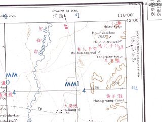 Reduced fragment of topographic map en--ams--250k--nk50-07--(1956)--N042-00_E114-00--N041-00_E116-00; towns and cities Luotuoshan, Baiqi, Xiaohezi