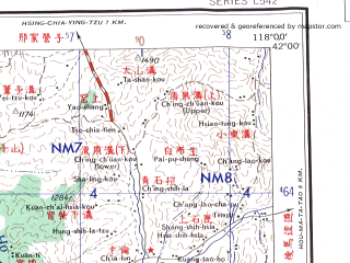 Reduced fragment of topographic map en--ams--250k--nk50-08--(1956)--N042-00_E116-00--N041-00_E118-00; towns and cities Erdaoying, Xiaobazi, Bugugou