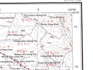 Reduced fragment of topographic map en--ams--250k--nk50-09--(1956)--N042-00_E118-00--N041-00_E120-00; towns and cities Xiaochengzi, Yushulinzi, Sangou