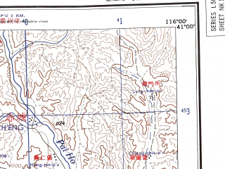 Reduced fragment of topographic map en--ams--250k--nk50-10--(1956)--N041-00_E114-00--N040-00_E116-00 in area of Guanting Reservoir; towns and cities Taohua, Zuowei, Dabu