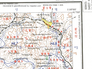 Reduced fragment of topographic map en--ams--250k--nk50-11--(1956)--N041-00_E116-00--N040-00_E118-00 in area of Miyun Shuiku, Yuqiao Reservoir; towns and cities Hushiha, Beigong, Yanggezhwang