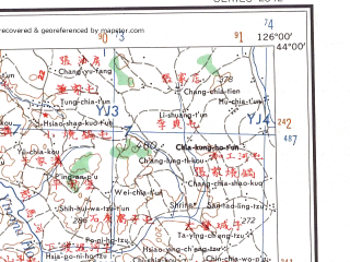 Reduced fragment of topographic map en--ams--250k--nk51-03--(1956)--N044-00_E124-00--N043-00_E126-00; towns and cities Changchun, Cilucun, Shaoguo, Heilinzi