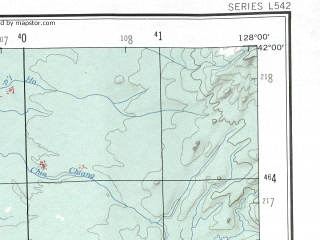 Reduced fragment of topographic map en--ams--250k--nk52-07--(1956)--N042-00_E126-00--N041-00_E128-00 in area of Yalu Jiang; towns and cities Taetonggi-ri, Hujugoup, Sang-dong