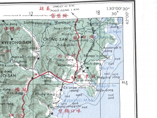 Reduced fragment of topographic map en--ams--250k--nk52-08--(1956)--N042-00_E128-00--N041-00_E130-00; towns and cities Ch'ongjin, Sagumgwang, Sumunnae, Sungam-ni