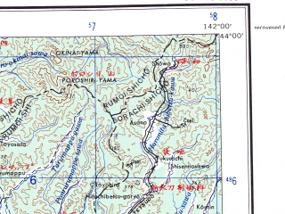 Reduced fragment of topographic map en--ams--250k--nk54-02--(1956)--N044-00_E140-00--N043-00_E142-00 in area of Ishikan; towns and cities Sapporo, Yawara, Notsuka, Kawashimo
