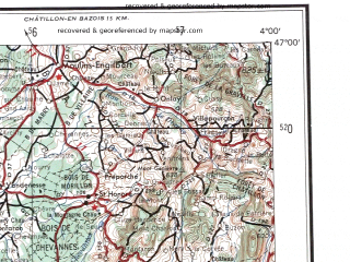 Reduced fragment of topographic map en--ams--250k--nl31-05--(1956)--N047-00_E002-00--N046-00_E004-00 in area of Allier Riviere, Allier; towns and cities Montlucon, Moulins, Nevers, Cusset, Issoudun