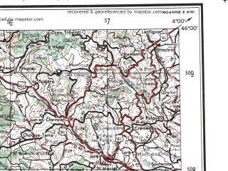 Reduced fragment of topographic map en--ams--250k--nl31-08--(1956)--N046-00_E002-00--N045-00_E004-00 in area of Barrage Du Chastang, Barrage De L'aigle, Baise; towns and cities Clermont-ferrand, Le Puy, Riom, Saint Flour, Aubusson