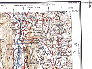 Reduced fragment of topographic map en--ams--250k--nl31-09--(1956)--N046-00_E004-00--N045-00_E006-00 in area of Lac Du Bourget, Rhone Riviere, Rhone Riviere; towns and cities Lyon, Saint-etienne, Grenoble, Romans-sur-isere, Chambery