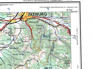 Download topographic map in area of Besancon Freiburg Mulhouse