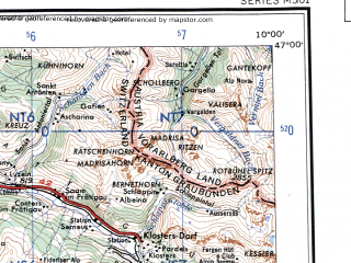 Reduced fragment of topographic map en--ams--250k--nl32-05--(1956)--N047-00_E008-00--N046-00_E010-00 in area of Moesa, Hinterhein, Vorderrhein; towns and cities Chur, Domodossola, Sondrio, Locarno, Davos