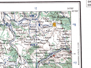 Reduced fragment of topographic map en--ams--250k--nl33-11--(1956)--N045-00_E014-00--N044-00_E016-00 in area of Velebitski Kanal; towns and cities Bihac, Zadar, Olib, Gospic, Gracac