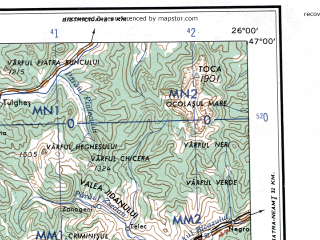 Reduced fragment of topographic map en--ams--250k--nl35-04--(1956)--N047-00_E024-00--N046-00_E026-00; towns and cities Tirgu Mures, Medias, Miercurea Ciuc, Odorhei, Reghin
