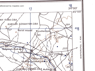 Reduced fragment of topographic map en--ams--250k--nl36-11--(1956)--N045-00_E032-00--N044-00_E034-00; towns and cities Sevastopol', Bakhchisaray, Kamyshevaya Bukhta, Pochtovoye, Tabachnoye
