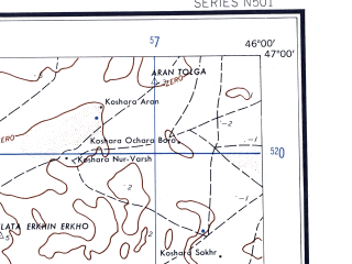 Reduced fragment of topographic map en--ams--250k--nl38-05--(1956)--N047-00_E044-00--N046-00_E046-00 in area of Ozero Bolsaja Saga; towns and cities Elista, Kirovskiy, Leninskiy, Prudovyy