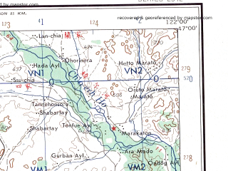 Reduced fragment of topographic map en--ams--250k--nl51-04--(1956)--N047-00_E120-00--N046-00_E122-00; towns and cities Chin-shan-tun, Ha-la-pa-la-tun, Man-chou