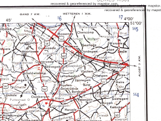 Reduced fragment of topographic map en--ams--250k--nm31-05--(1956)--N051-00_E002-00--N050-00_E004-00; towns and cities Lille, Roubaix, Mons, Roeselare, Kortrijk