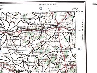 Reduced fragment of topographic map en--ams--250k--nm31-07--(1956)--N050-00_E000-00--N049-00_E002-00; towns and cities Rouen, Dieppe, Evreux, Vernon, Gournay-en-bray