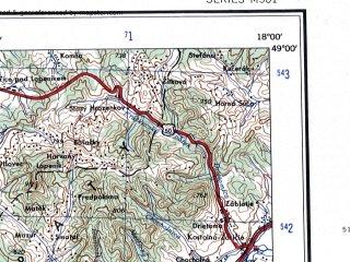 Reduced fragment of topographic map en--ams--250k--nm33-12--(1956)--N049-00_E016-00--N048-00_E018-00 in area of Donau, Danau Strom; towns and cities Wien, Bratislava, Trnava, Znojmo, Piest'any