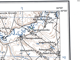 Reduced fragment of topographic map en--ams--250k--nm36-12--(1956)--N049-00_E034-00--N048-00_E036-00; towns and cities Dnepropetrovsk, Dneprodzerzhinsk, Pavlograd, Novomoskovsk, Vol'nogorsk