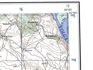 Reduced fragment of topographic map en--ams--250k--nm38-05--(1956)--N051-00_E044-00--N050-00_E046-00; towns and cities Kamyshin, Kotovo, Nikolayevsk, Zhirnovsk, Krasnyy Yar