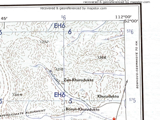 Reduced fragment of topographic map en--ams--250k--nm49-02--(1956)--N052-00_E110-00--N051-00_E112-00; towns and cities Khilok, Mogzon, Shebartuy Vtoroy, Glinka, Zagustay