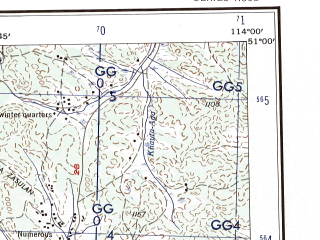 Reduced fragment of topographic map en--ams--250k--nm49-06--(1956)--N051-00_E112-00--N050-00_E114-00; towns and cities Aksha, Chindaley, Duldurga, Mogoytuy