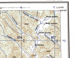 Reduced fragment of topographic map en--ams--250k--nm49-08--(1956)--N050-00_E110-00--N049-00_E112-00; towns and cities Semiozerye, Shumunda, Altan