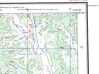 Reduced fragment of topographic map en--ams--250k--nm51-08--(1956)--N050-00_E122-00--N049-00_E124-00