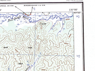 Reduced fragment of topographic map en--ams--250k--nm52-12--(1956)--N049-00_E130-00--N048-00_E132-00; towns and cities Kasatkino, Khingan, Xingnongcun