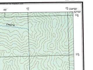Reduced fragment of topographic map en--ams--250k--nm53-01--(1956)--N052-00_E132-00--N051-00_E134-00; towns and cities Chegdomyn, Ust-umalta, Iorik, Novyy Urgal