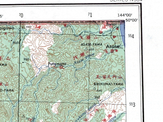 Reduced fragment of topographic map en--ams--250k--nm54-09--(1956)--N050-00_E142-00--N049-00_E144-00 in area of Ozero Nevskoe; towns and cities Poronaysk, Uglegorsk, Boshnyakovo, Buyukly, Gastello