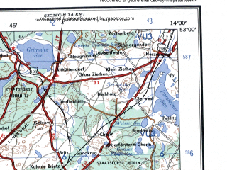 Reduced fragment of topographic map en--ams--250k--nn33-10--(1956)--N053-00_E012-00--N052-00_E014-00 in area of Havel Strom, Plauer See, Wannsee; towns and cities Berlin, Potsdam, Brandenburg, Eberswalde, Rathenow